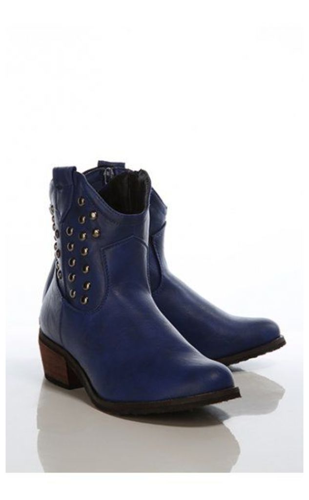 Vintage Style Studded Cowboy Boots In Blue