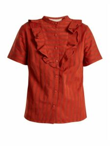 Ace & Jig - Fiona Ruffle-trimmed Striped-cotton Blouse - Womens - Dark Orange