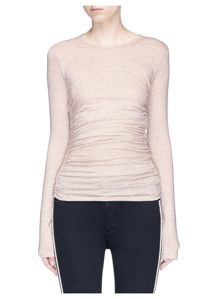 Ruched elastic side modal-blend jersey top