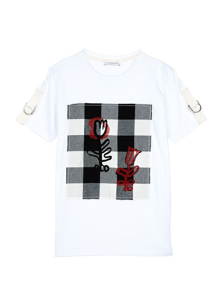 Graphic print gingham check patch unisex T-shirt