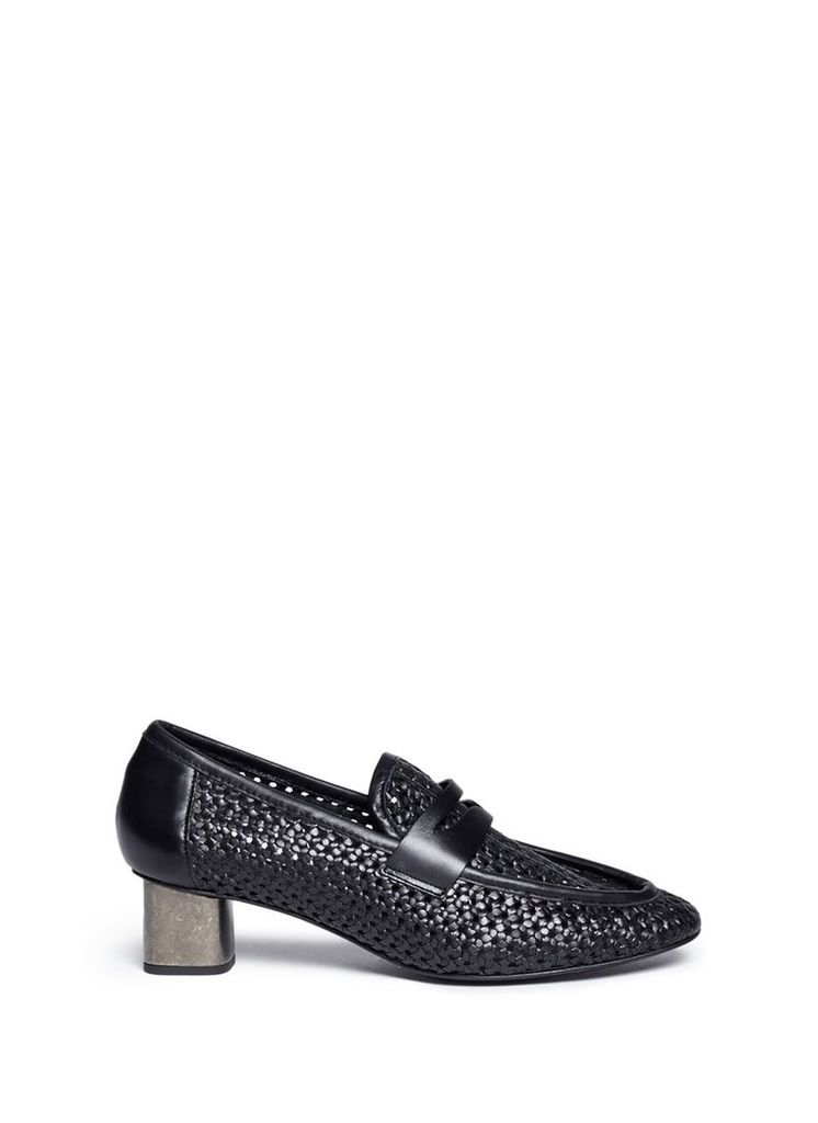'Povain' cube heel woven leather penny loafer pumps