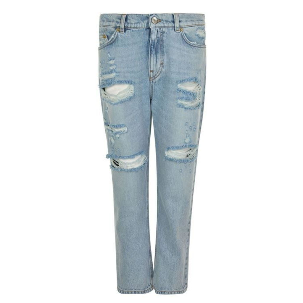 DOLCE AND GABBANA Strawberry Applique Distressed Jeans
