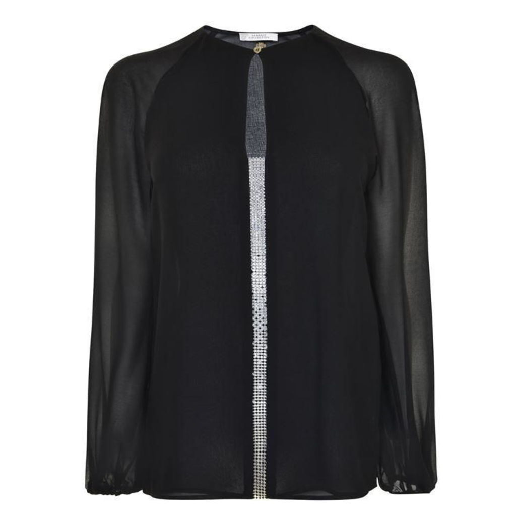 VERSACE COLLECTION Embellished Sheer Blouse