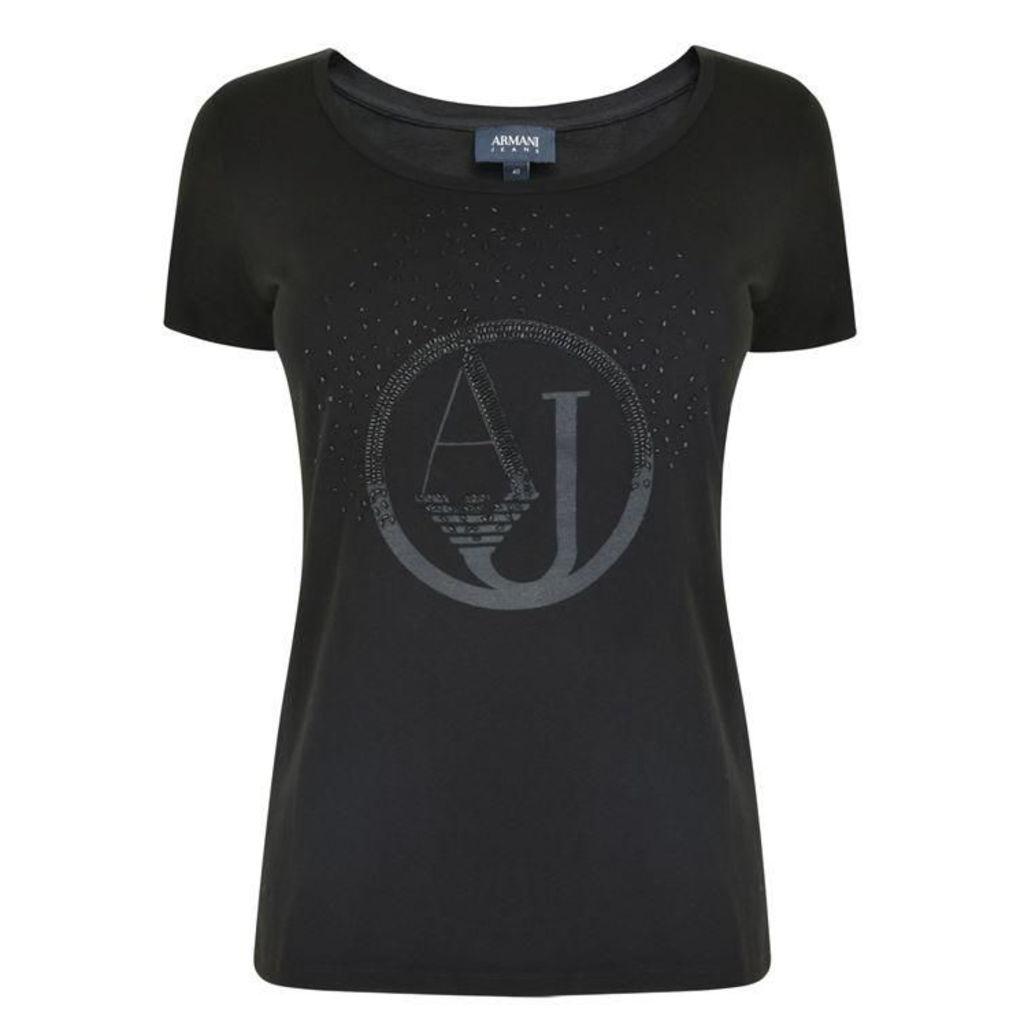 ARMANI JEANS Embellished Logo T Shirt