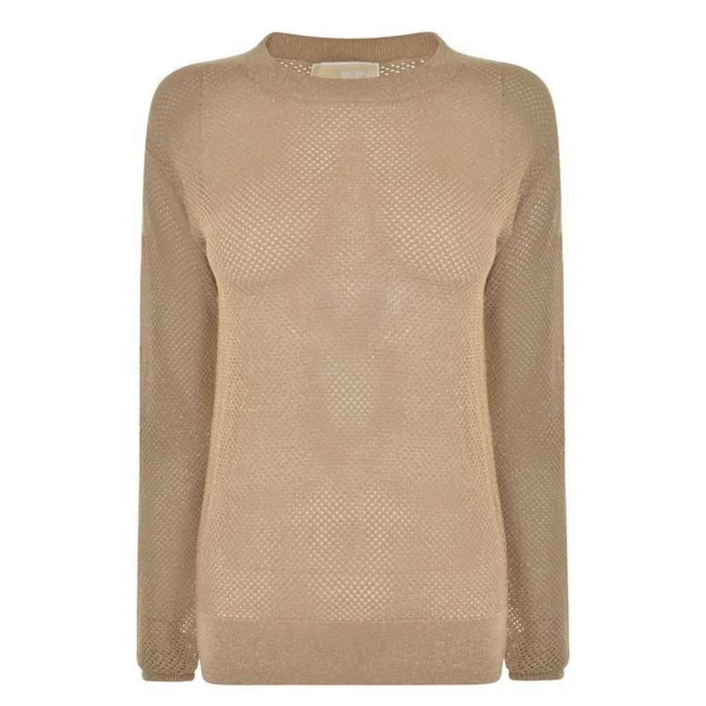 MICHAEL MICHAEL KORS Metallic Mesh Buttoned Sweater