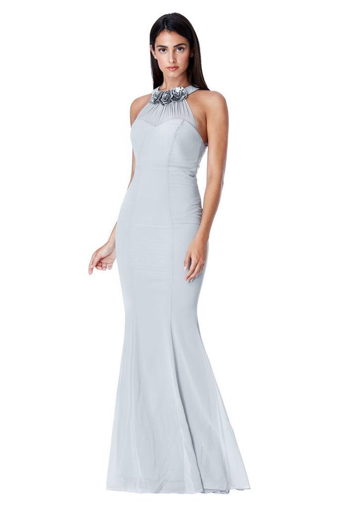 Halter Neck Chiffon Maxi Dress with Flower Detail - Silver