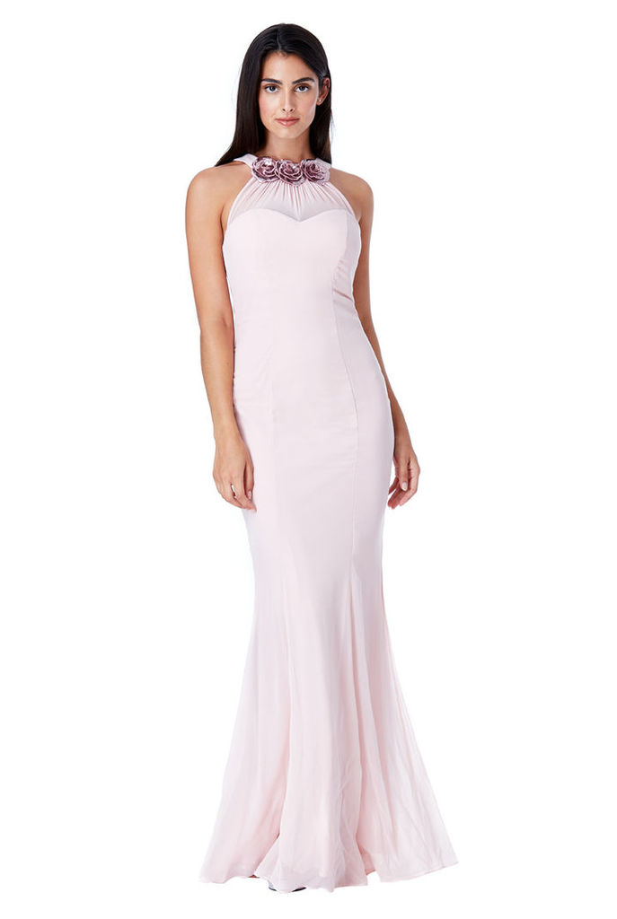 Halter Neck Chiffon Maxi Dress with Flower Detail - Nude