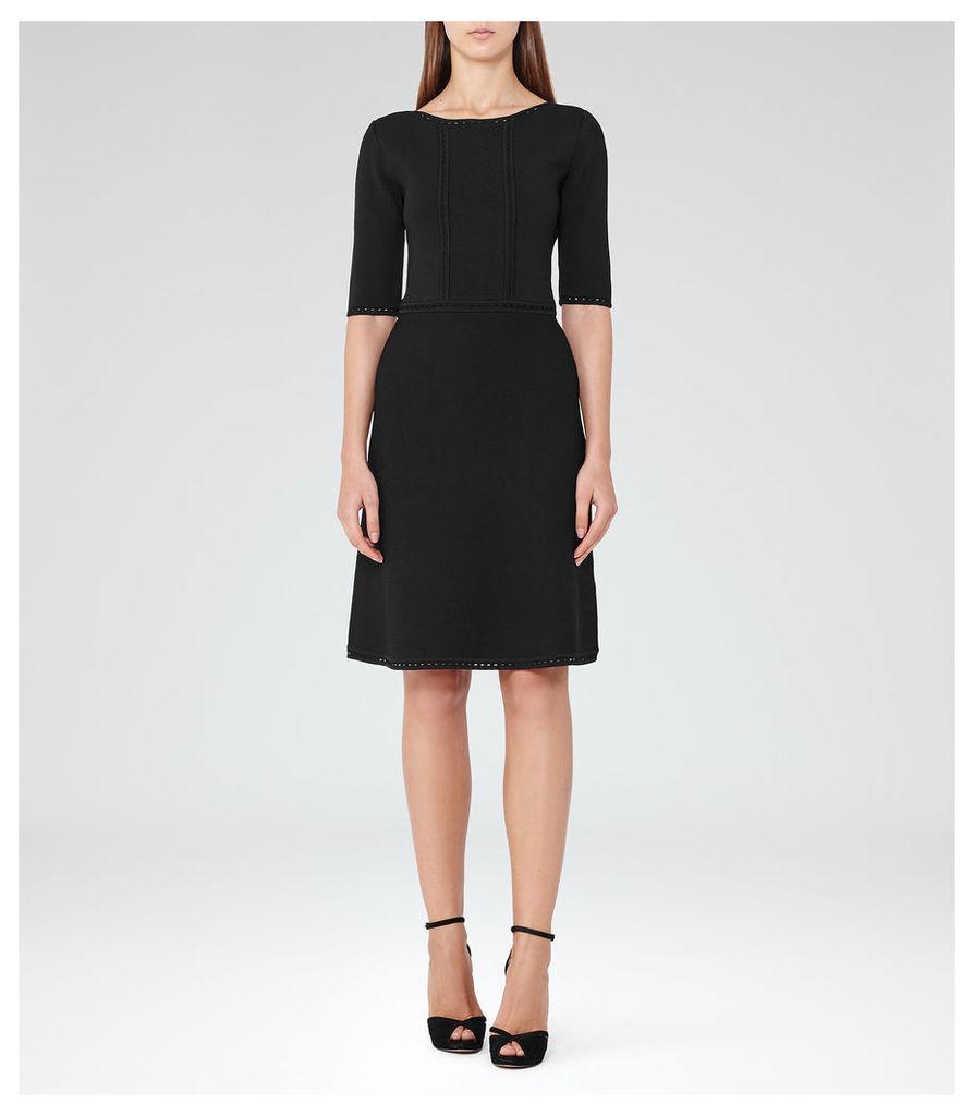 REISS Celestia - Structured Knit Dress in Black, Womens