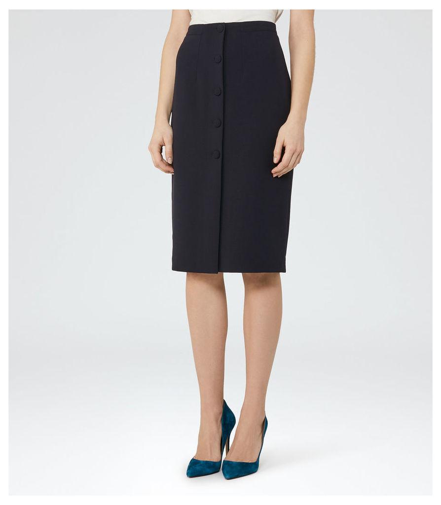 REISS Luelle - Button-front Pencil Skirt in Blue, Womens