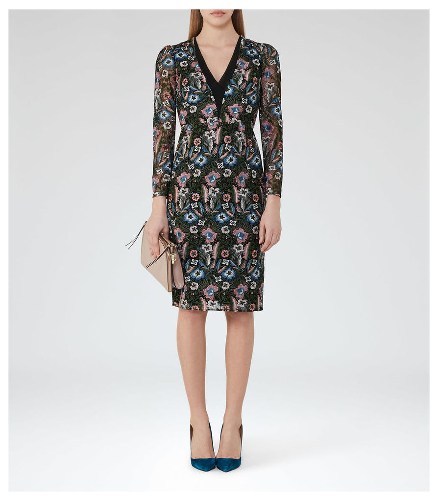REISS Zealand - Embroidered Dress in White, Womens