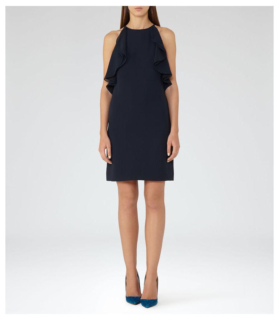 REISS Reva - Ruffle-detail Dress in Black, Womens