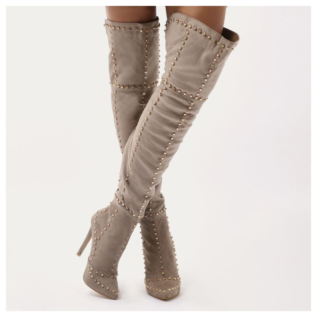Roulette Studded Over The Knee Boots in Taupe Faux Suede, Green