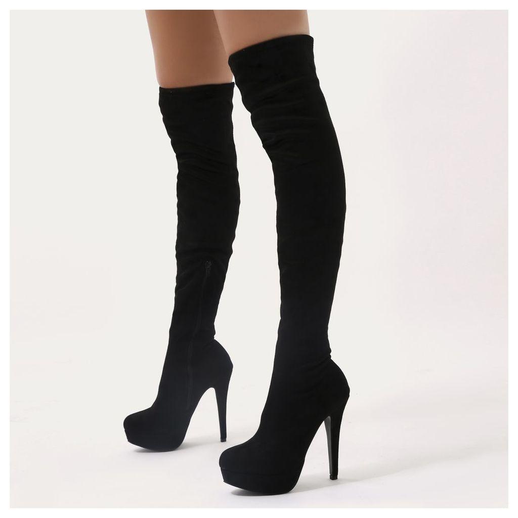 Temper Platform Over The Knee Boots  Faux Suede, Black