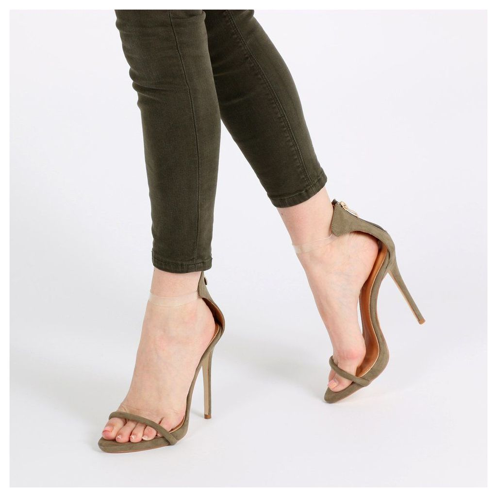 Clarissa Clear Strap Barely There Heels in Khaki Faux Suede, Grey