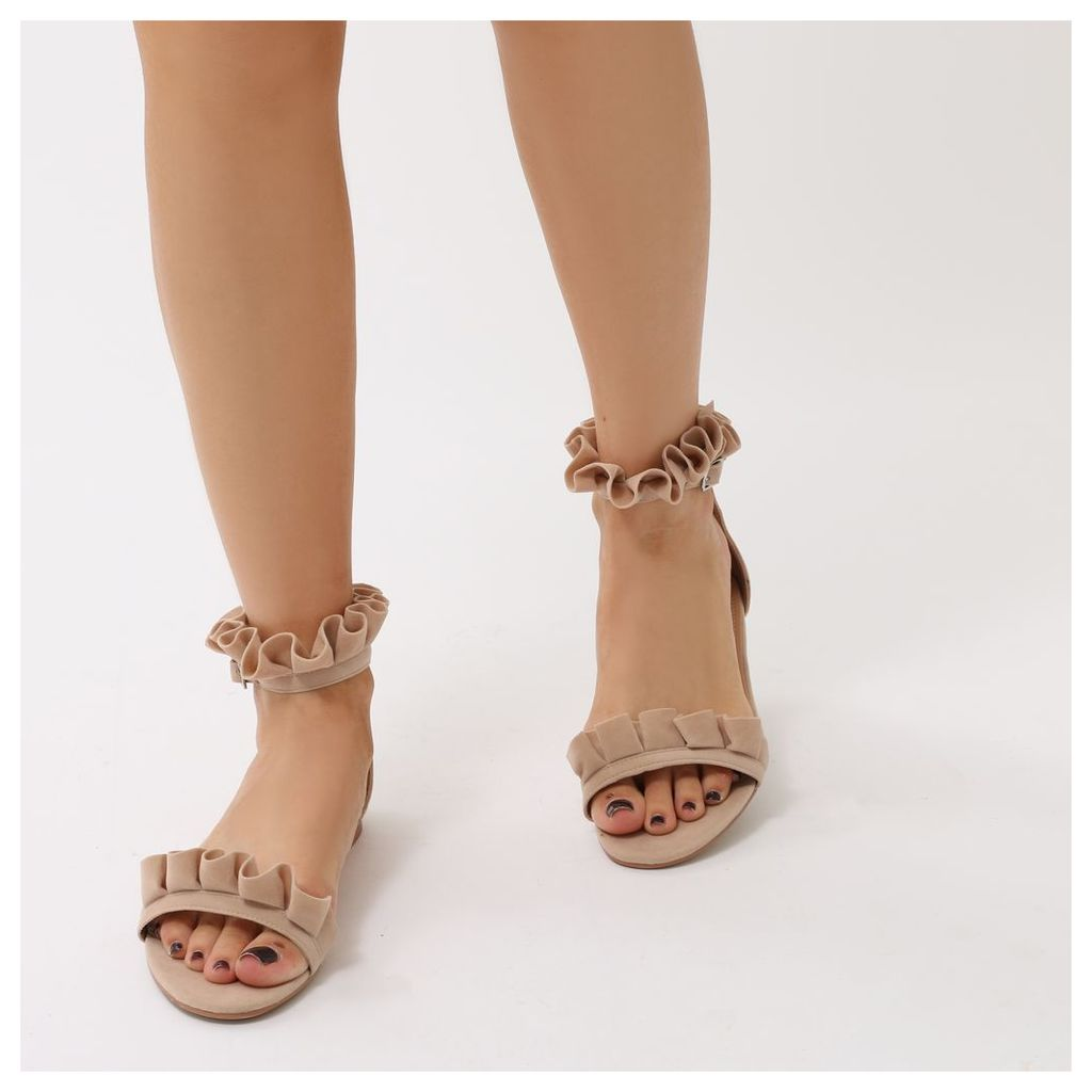 Selene Frill Strap Flat Sandals  Faux Suede, Nude