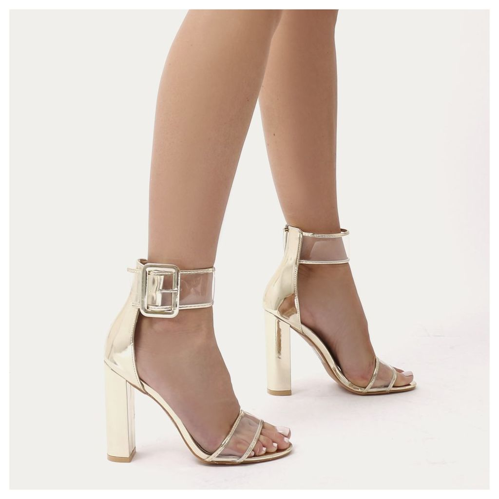 Mission Perspex Strap Buckled Block High Heels, Gold