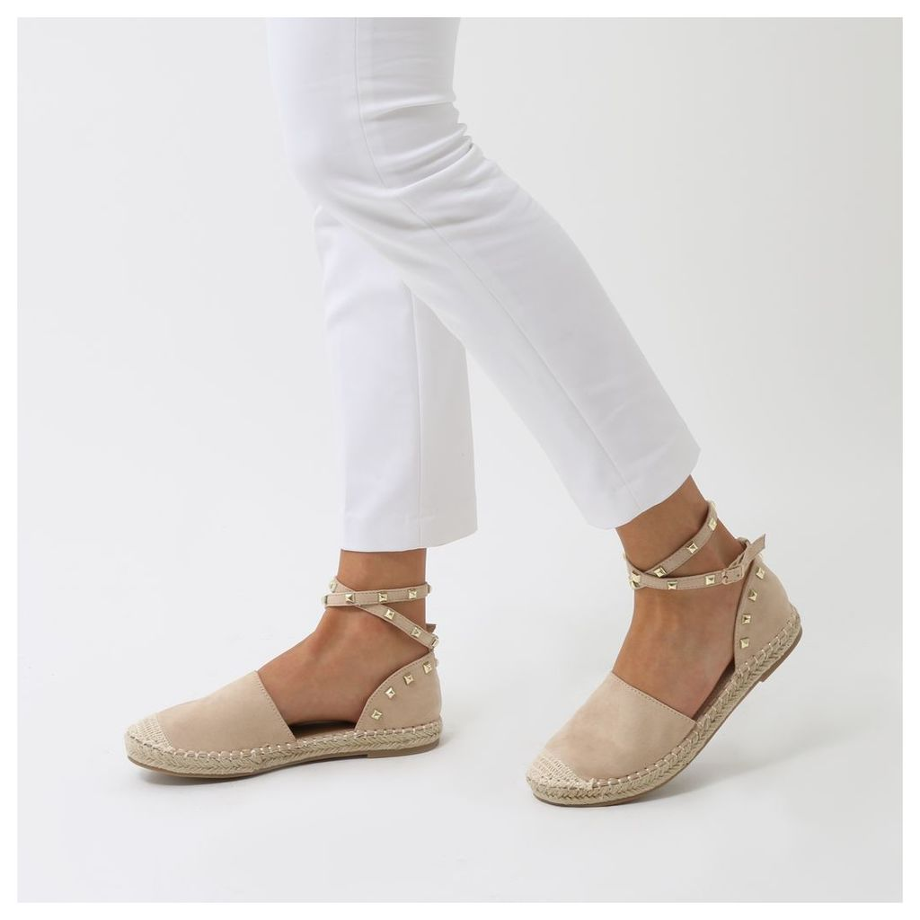 Malawi Studded Espadrilles  Faux Suede, Nude