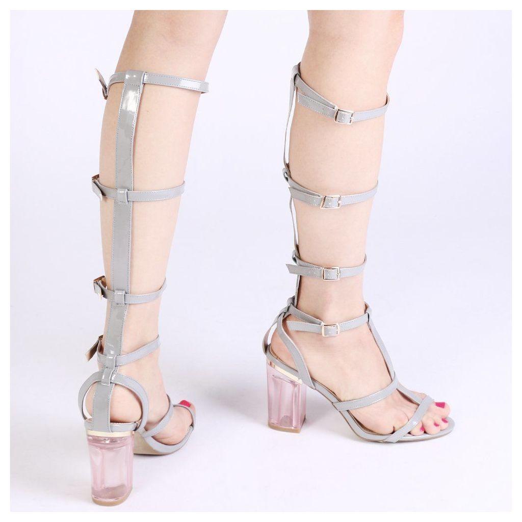 Hattie Strap High Heels  Patent, Grey
