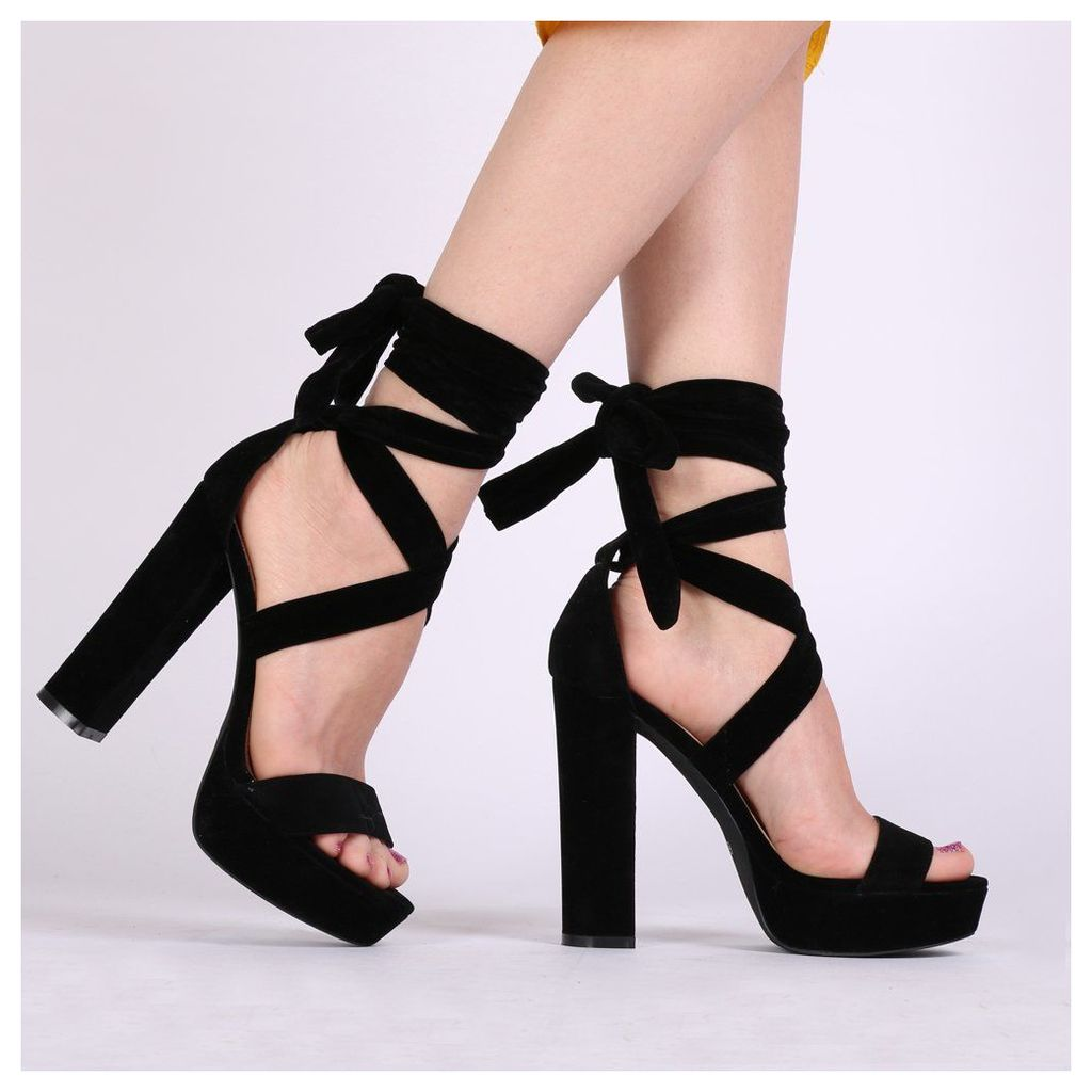 Adrina Lace Up Heels  Faux Suede, Black