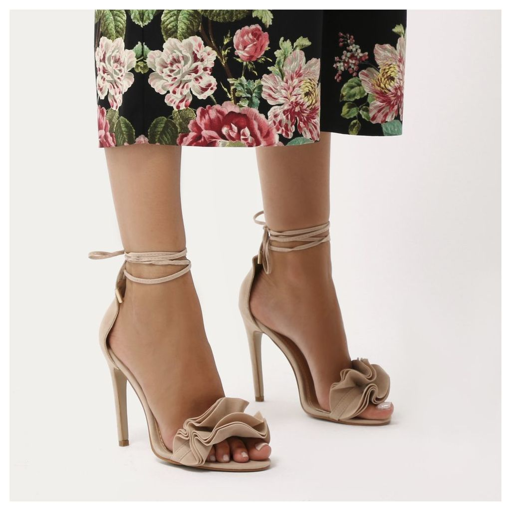 Sugar Ruffle Lace Up Barely There Heels  Faux Suede, Nude