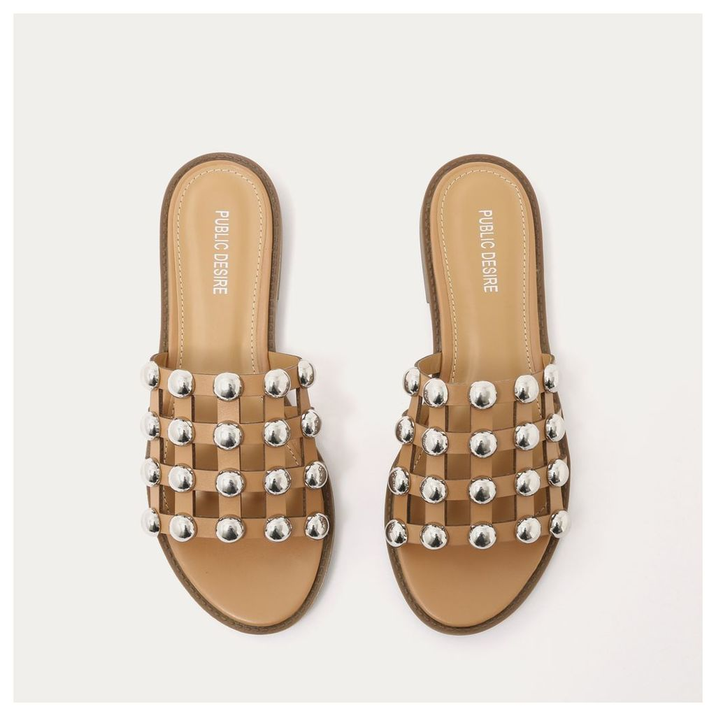 Pearl Caged Flat Slider Sandals in Tan, Brown