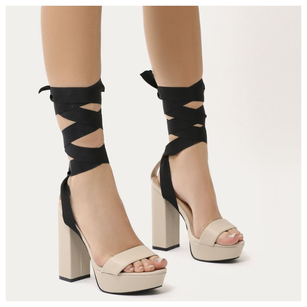 Strike Lace Up Platform Heels, Nude