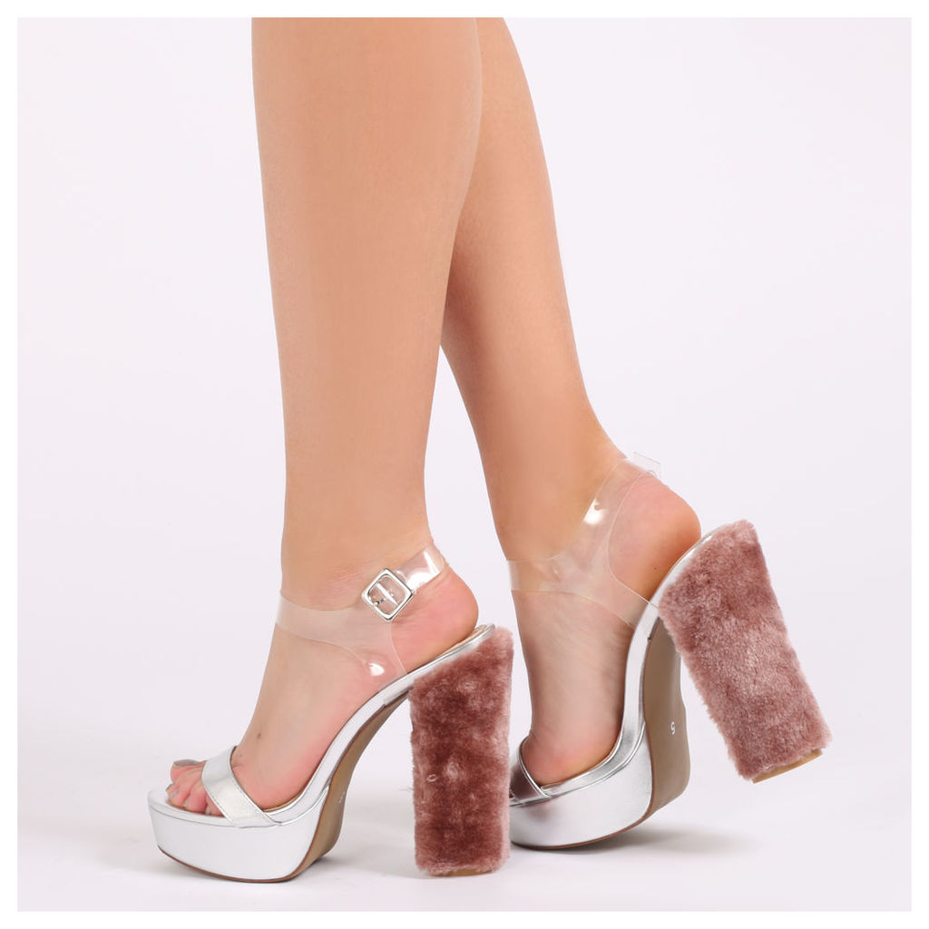 Amalia Perspex Strap Faux Fur Heel Platforms, Silver