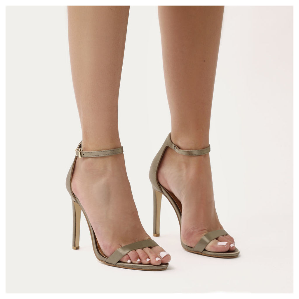 Avril Barely There Heels in Khaki Satin, Green