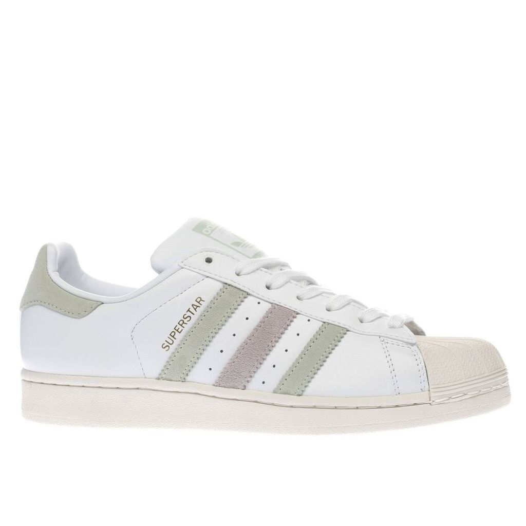 adidas white & green superstar trainers
