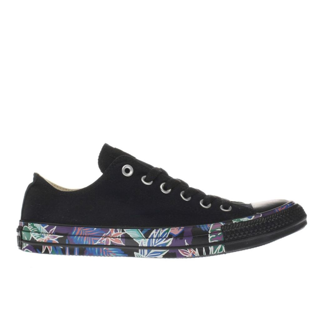 converse black & pink all star floral tape ox trainers