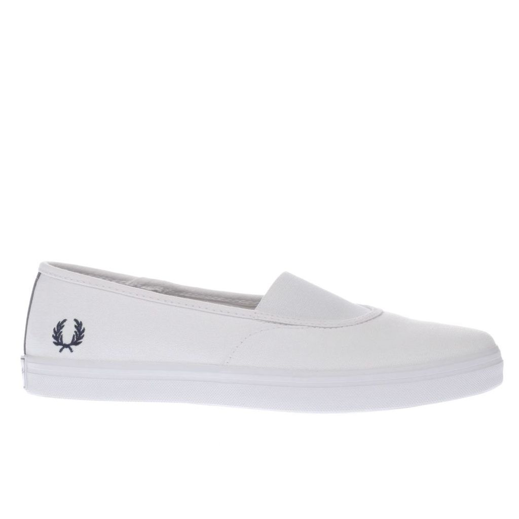 fred perry white & navy aubyn slip on canvas trainers