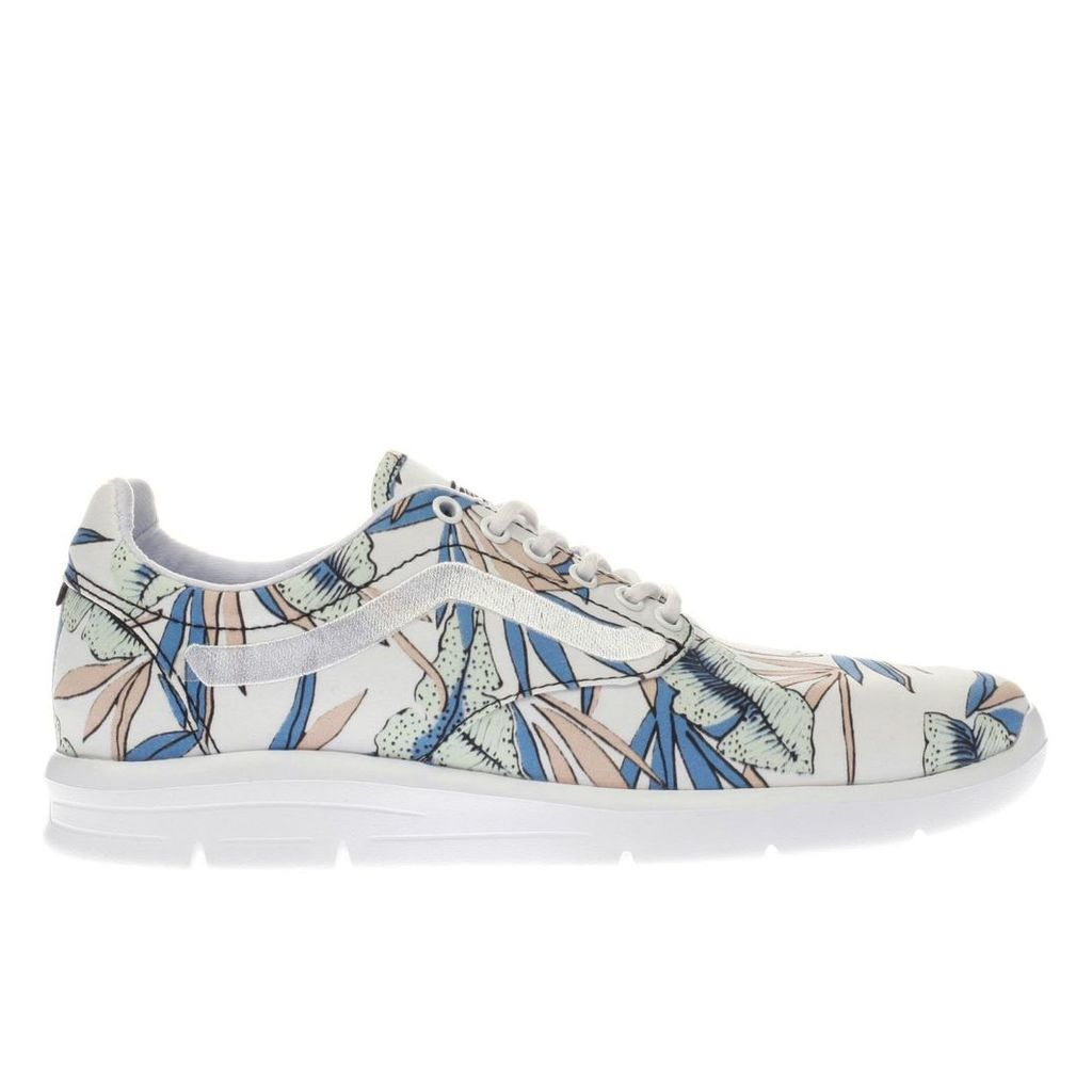 vans white & green iso 1-5 tropical leaves trainers