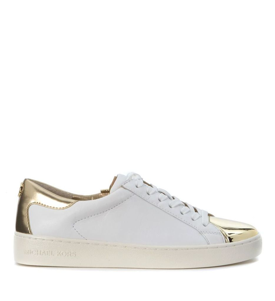 Sneaker Michael Kors Frankie In White And Gold Leather