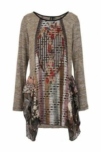 Contrast Print Tunic Top