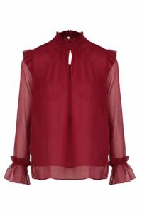 Frill Sleeve Sheer Blouse