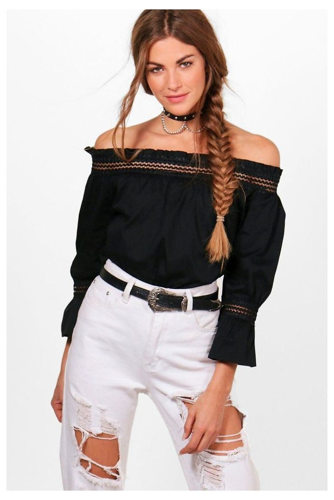 Woven Off the Shoulder Top - black