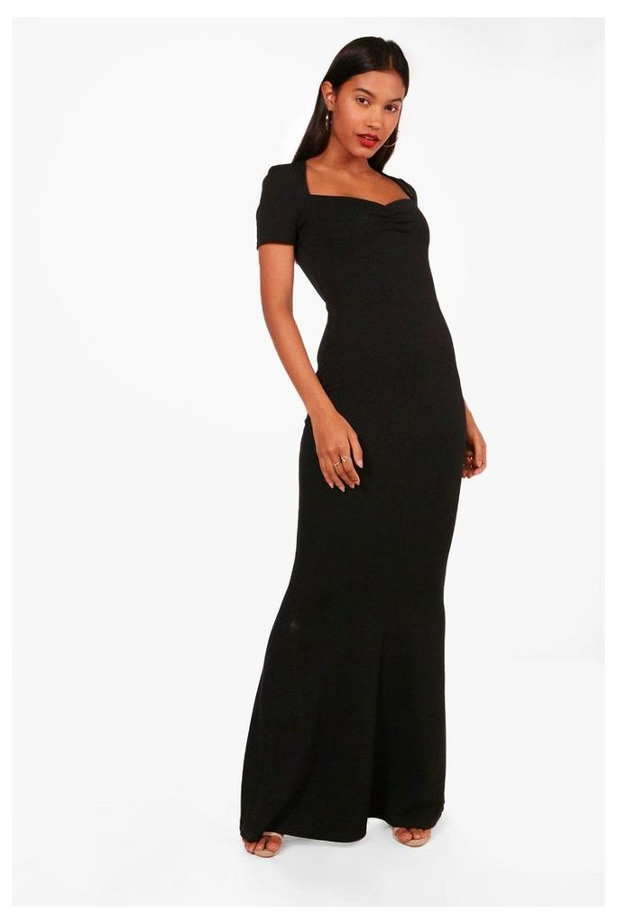 Sweetheart Neck Fishtail Maxi Dress - black