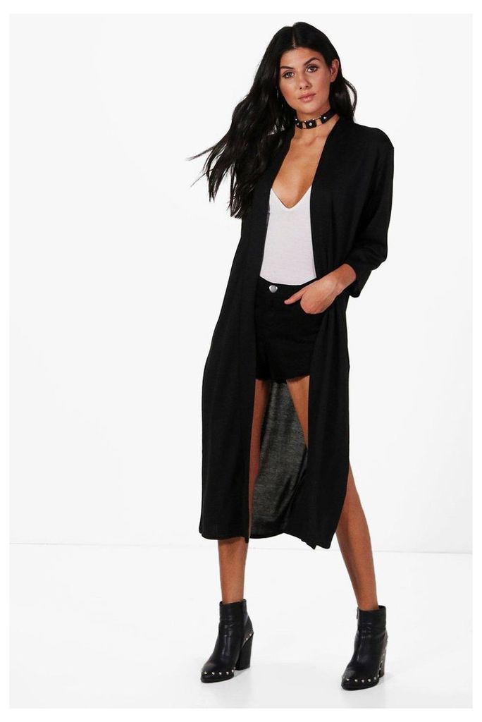 Side Split Midi Cardigan - black