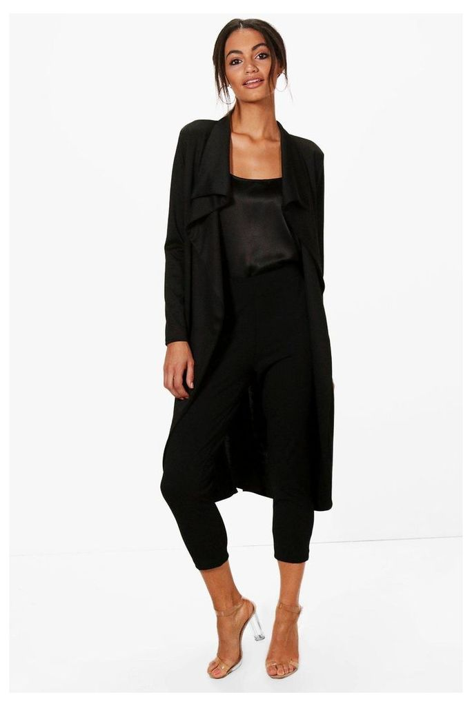 Ponte Wrap Front Duster Jacket - black