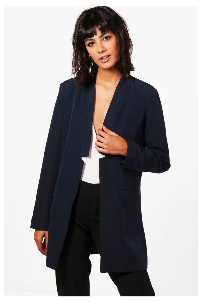 Premium Notch Neck Tailored Lined Blazer - navy