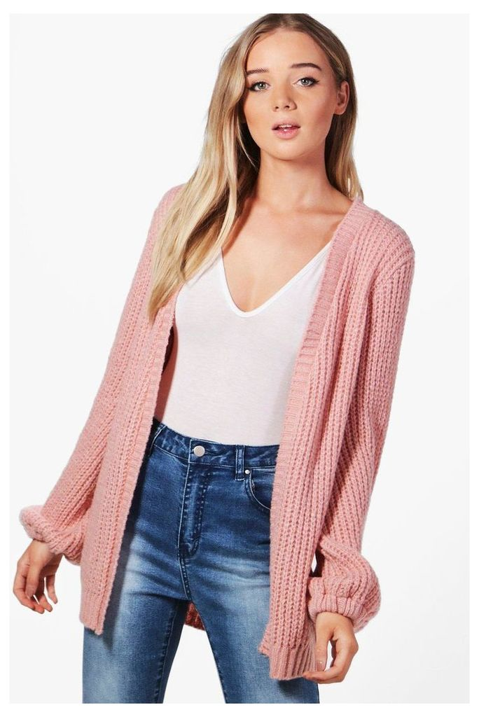 Blouson Sleeve Soft Knit Cardigan - blush