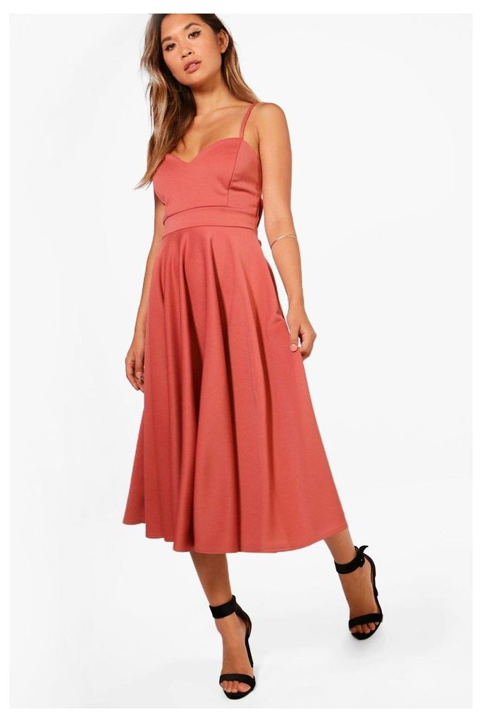 Scuba Tie Waist  Midi Skater Dress - rose