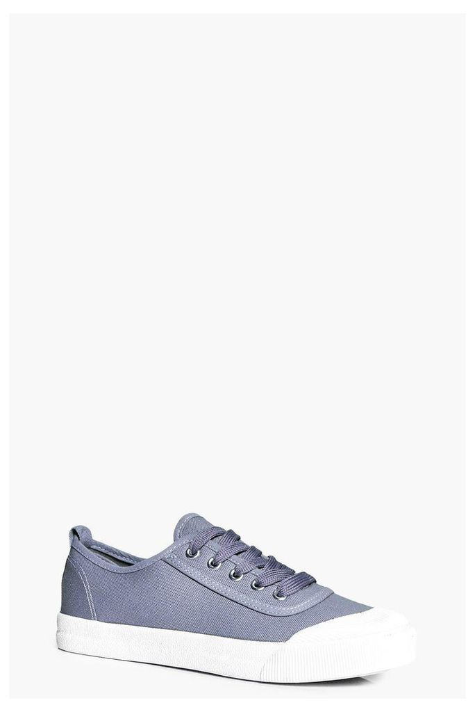 Lace Up Canvas Pump - grey