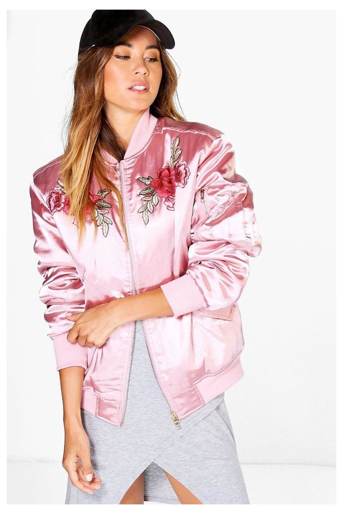 Ella Rose Embroidered Bomber - rose
