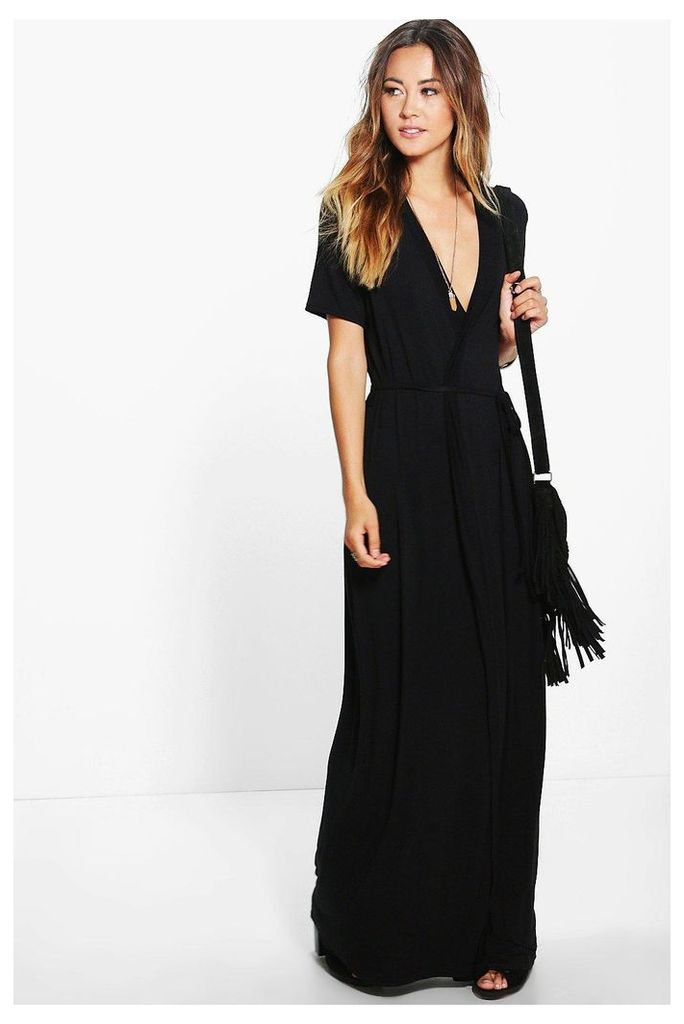 Wrap Front Belted Maxi Dress - black