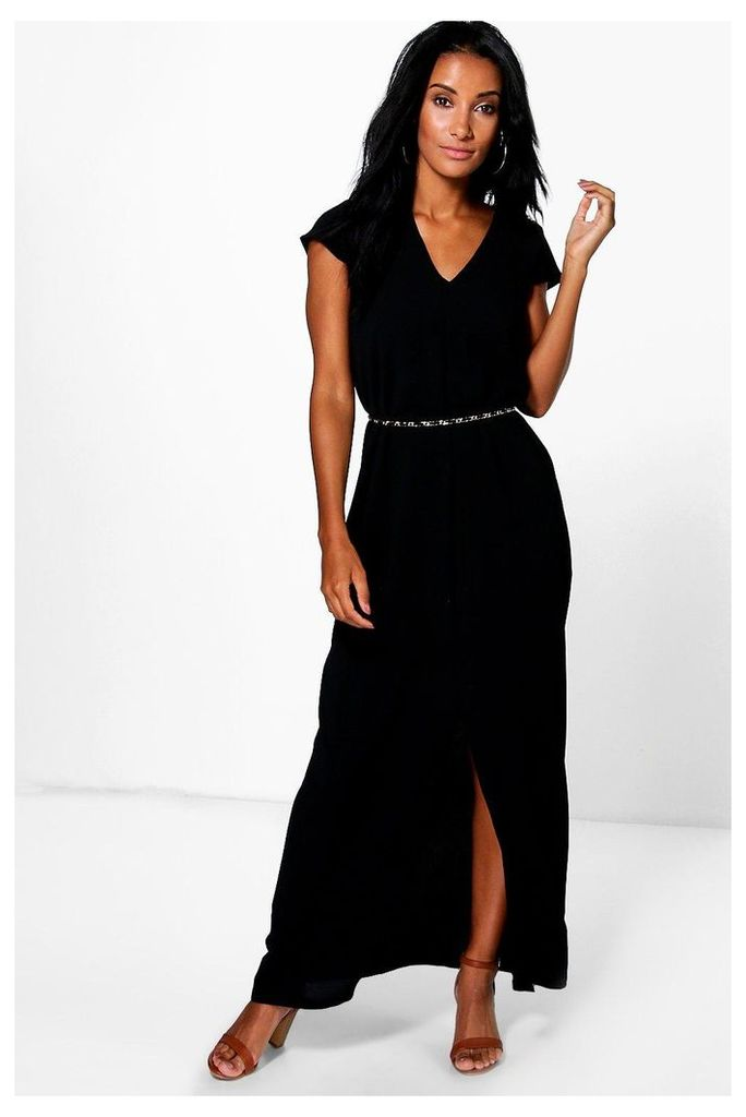 Wrap Front Split Maxi Dress - black