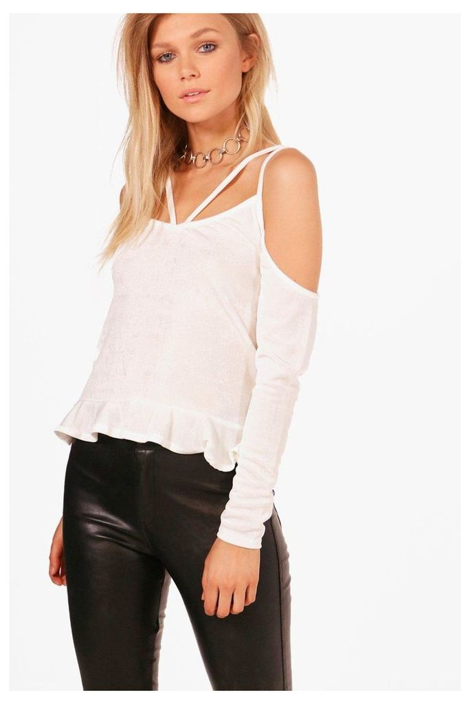 Hailey Premium Textured Slinky Frill Top - dove