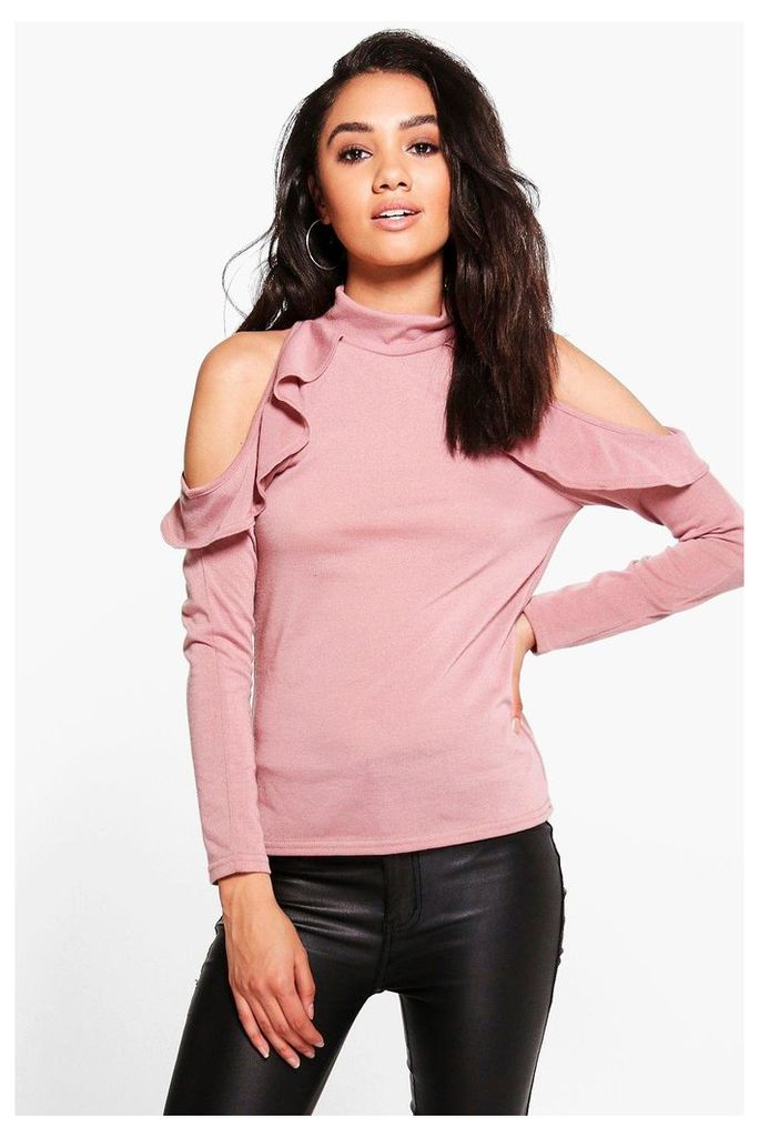May Cold Shoulder Ruffle High Neck Top - rose