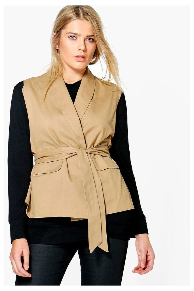 Jane Sleeveless Tie Waist Utility Jacket - tan