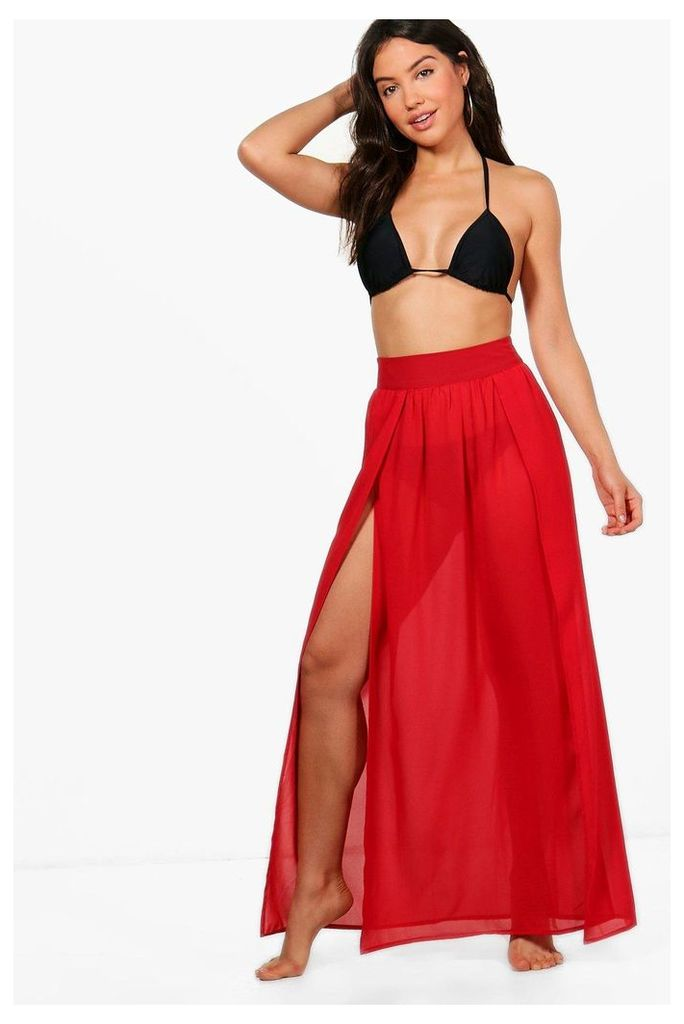 Split Leg Beach Skirt - red